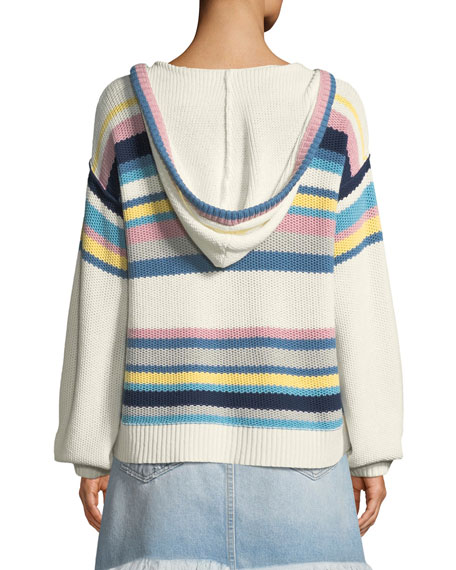 Striped Dropped-Shoulder Hooded Sweater