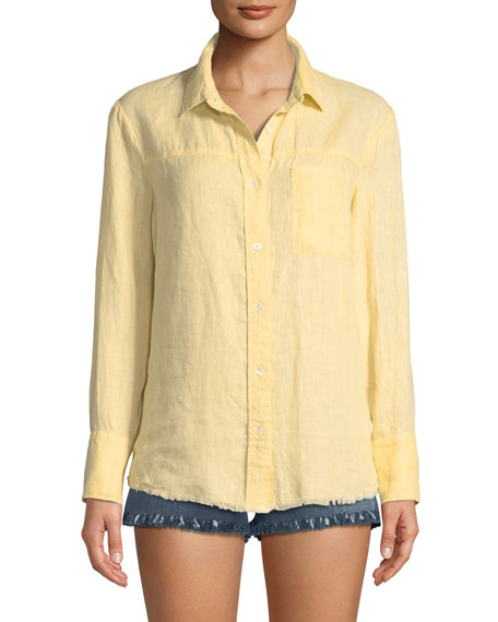 Frayed Linen Button-Down Top
