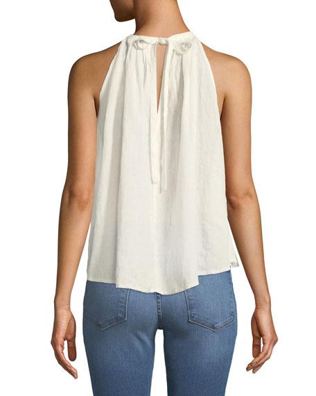 Open-Back Tie Pleated Linen Top