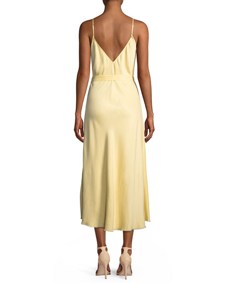 Belted Satin Midi-Length Slip Cocktail Dress