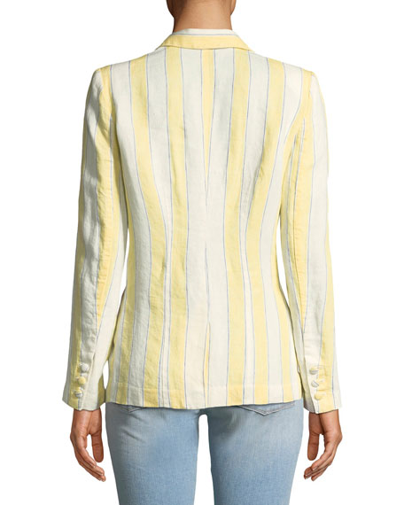 Striped Linen One-Button Blazer