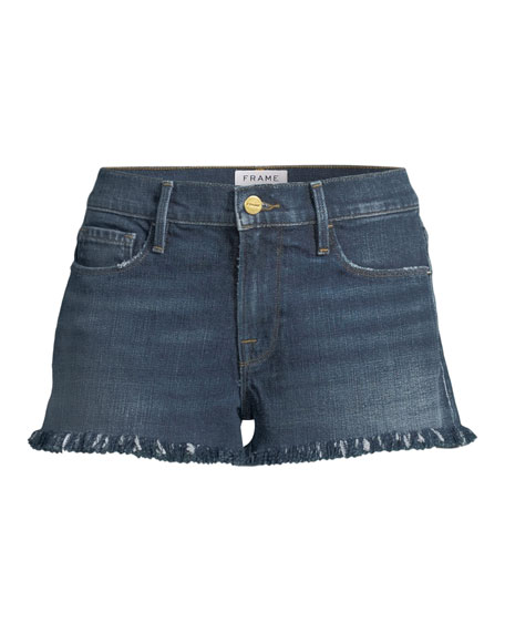 Le Cutoff Shredded Raw-Hem Denim Shorts