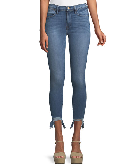 Le High Skinny Stiletto Frayed Cropped Jeans