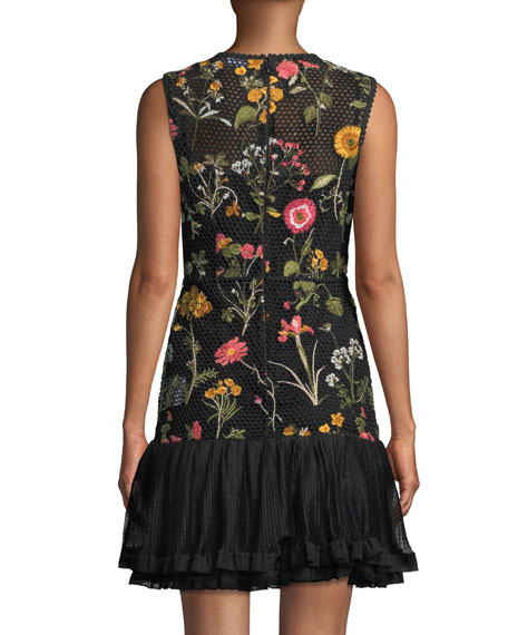 Macrame Floral-Embroidered Dress