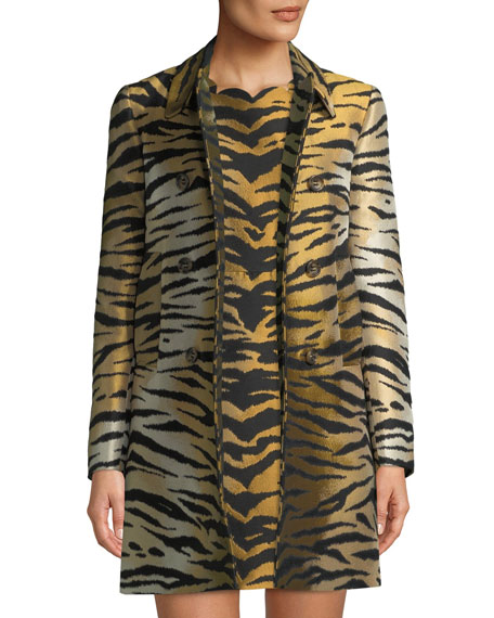 Tiger Brocade Double-Breasted Coat