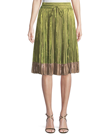 Iridescent Pleated A-Line Skirt