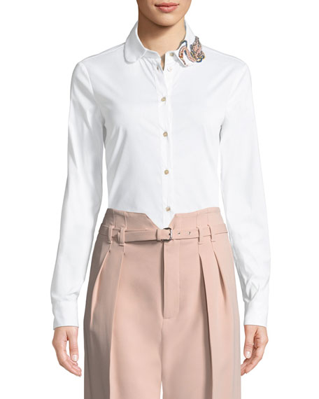Bead-Embellished Poplin Blouse