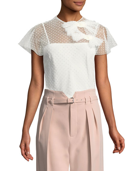 REDValentino Flocked Polka Dot Top