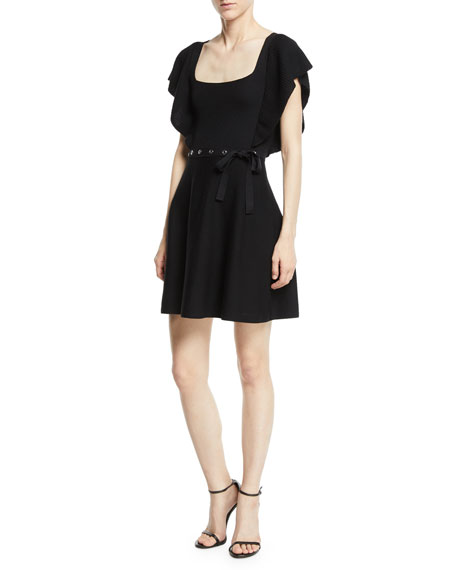 REDValentino Square-Neck Ruffle-Sleeve Knit Dress