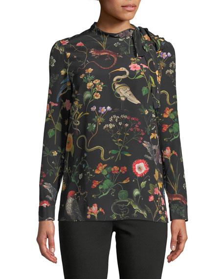 Flora-and-Fauna Print Long-Sleeve Blouse
