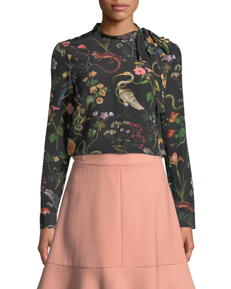 REDValentino Flora-and-Fauna Print Long-Sleeve Blouse