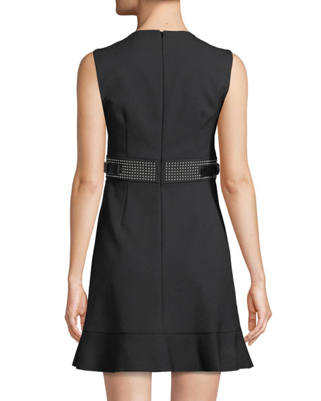 Cady Tech Sleeveless Dress with Microstudded Waist