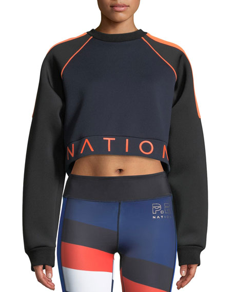 PE Nation End Plate Cropped Pullover Sweatshirt