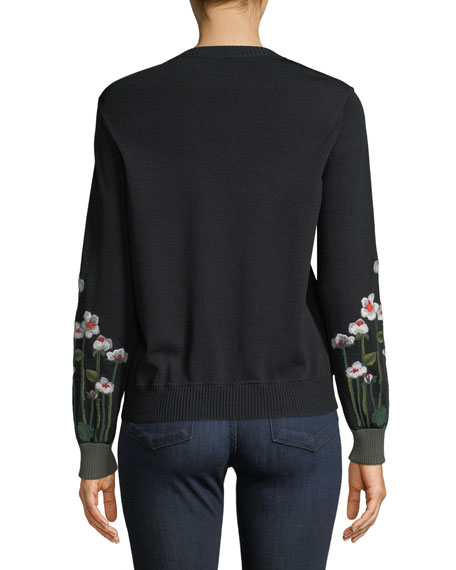 Floral-Embroidered Sweatshirt
