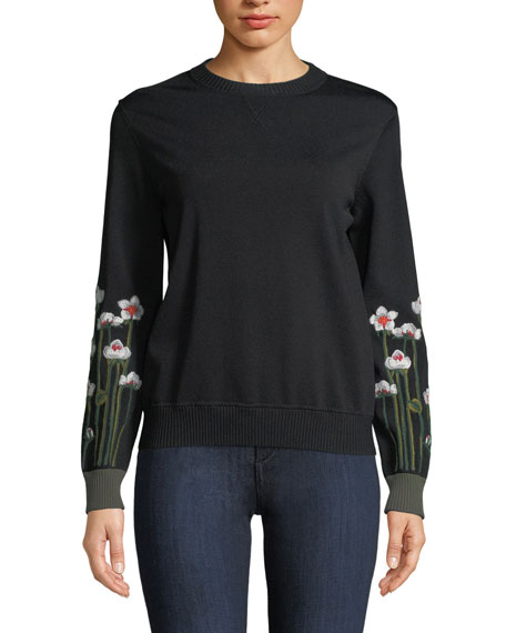 Floral Embroidered Sweatshirt by Red Valentino