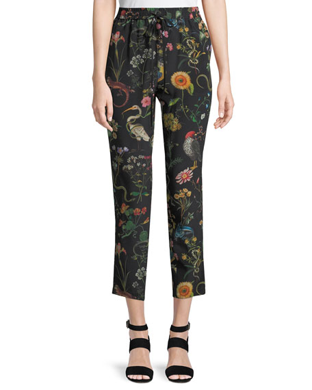 Flora and Fauna Floral-Print Silk Track Pants