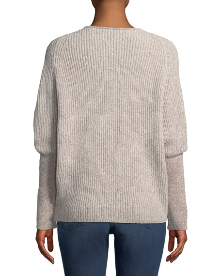 Cashmere Metallic Dolman-Sleeve Sweater