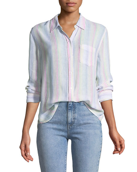 Rails Charli Candy-Striped Long-Sleeve Shirt