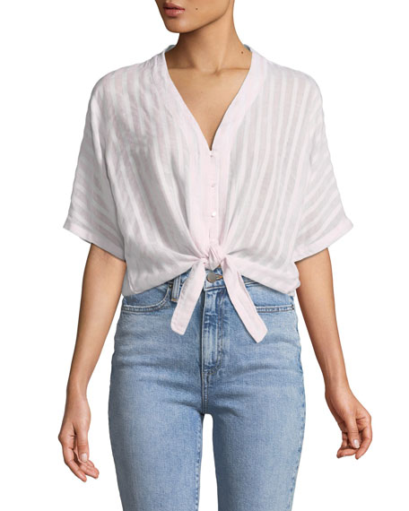 Rails Thea Striped Cotton Tie-Front Top