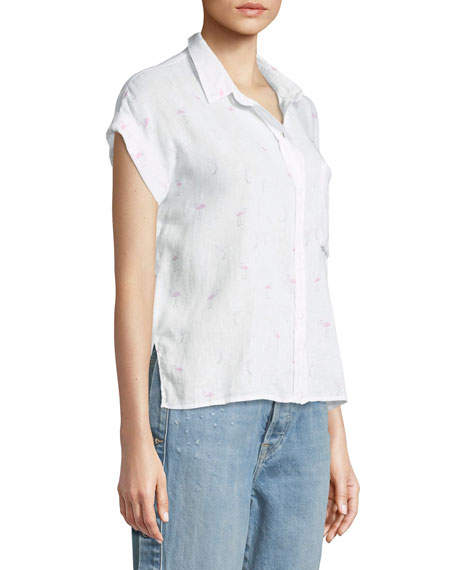Whitney Flamingoes Short-Sleeve Button-Down Top