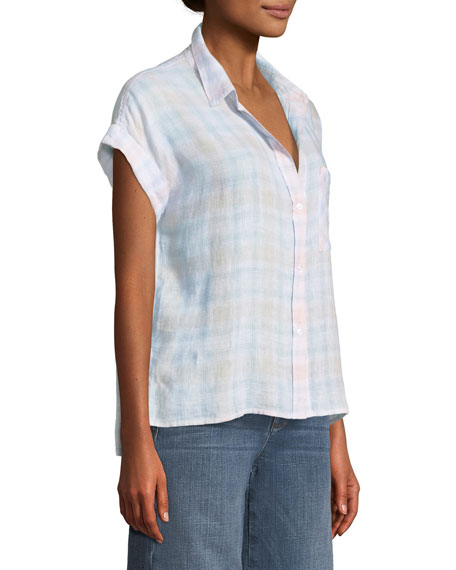 Whitney Plaid Short-Sleeve Button-Down Top