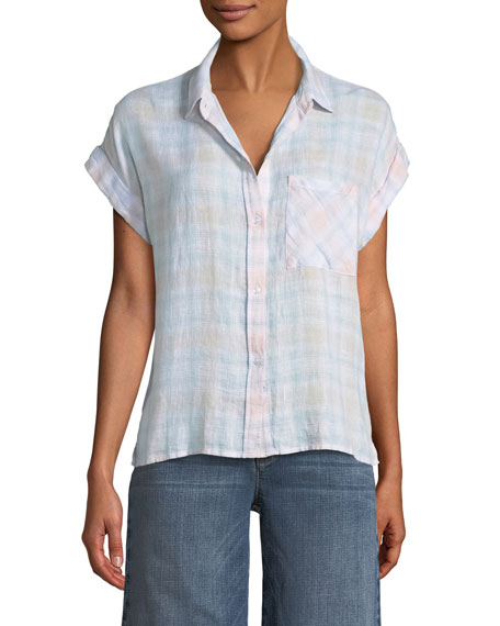 Rails Whitney Plaid Short-Sleeve Button-Down Top