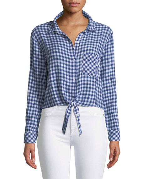 Val Tie-Hem Gingham Shirt