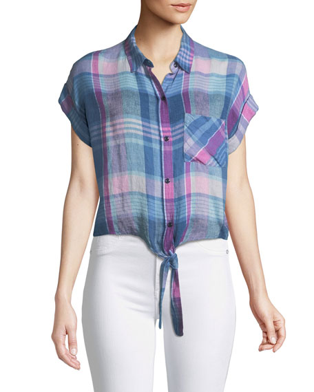 Amelie Madras Plaid Linen Button-Down Top
