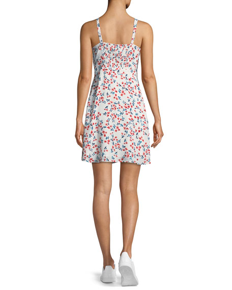Dennis Sleeveless Floral-Print Lace-Up Dress