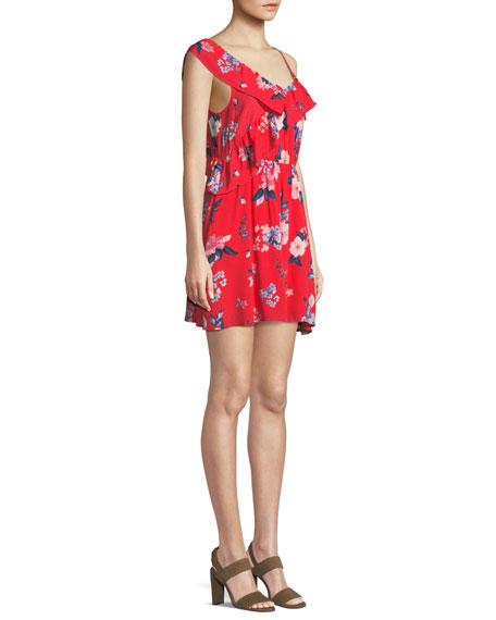 Cordetta Asymmetric Ruffled Floral-Print Dress