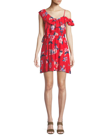 Cupcakes and Cashmere Cordetta Asymmetric Ruffled Floral-Print