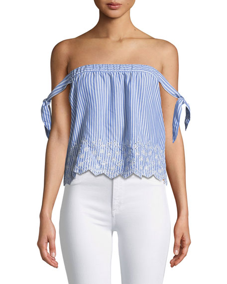 Bessy Striped Off-the-Shoulder Eyelet Top