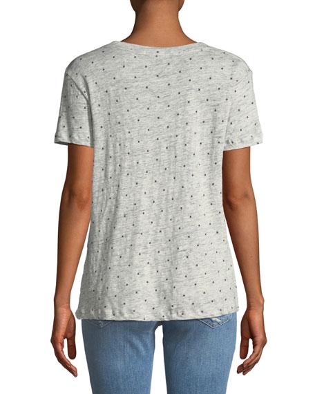 Cara Star-Print Linen-Blend V-Neck Tee