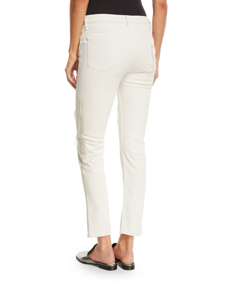 Hypnos Slim Straight-Leg Cropped Jeans w/ Stitching Details