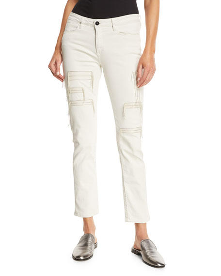BROCKENBOW Hypnos Slim Straight-Leg Cropped Jeans W/ Stitching Details in White
