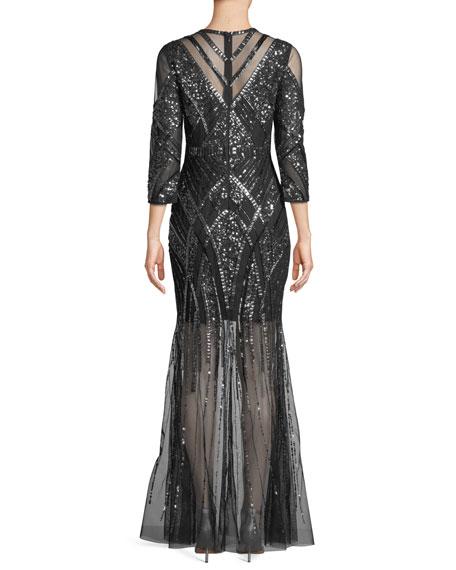 Beaded V-Neck Gown w/ Illusion Skirt