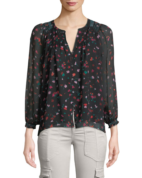 Joie Gontilda Silk Floral Long-Sleeve Top