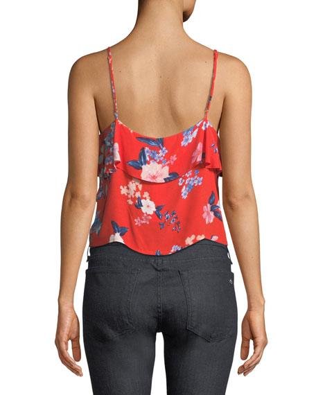 Berkely V-Neck Floral-Print Ruffled Top