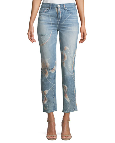 Hudson Zoeey High-Rise Straight-Leg Cropped Dip-Out Jeans