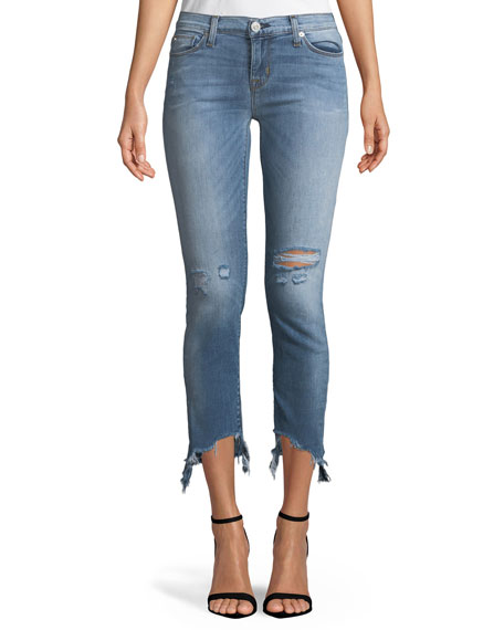 Tally Distressed Cropped Skinny Jeans with Chewed Hem