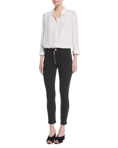 Barbara High-Rise Super Skinny-Leg Ankle Jeans w/ Exposed Zip