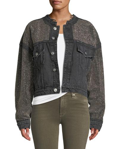 Rei Cropped Studded Denim Jacket