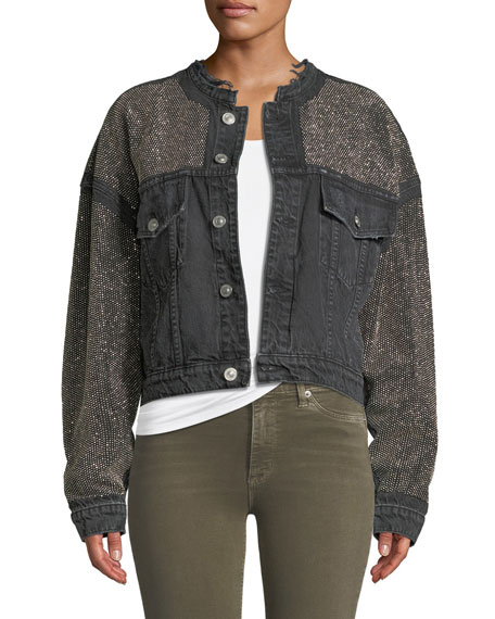 Hudson Rei Cropped Studded Denim Jacket