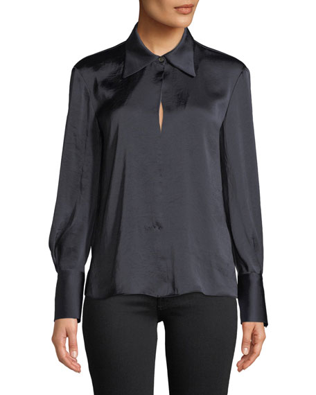 Split-Collar Crushed Satin Long-Sleeve Top