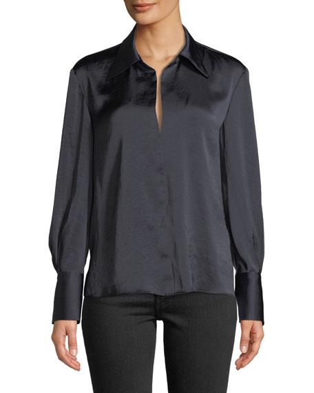 Split-Collar Crushed Satin Long-Sleeve Top