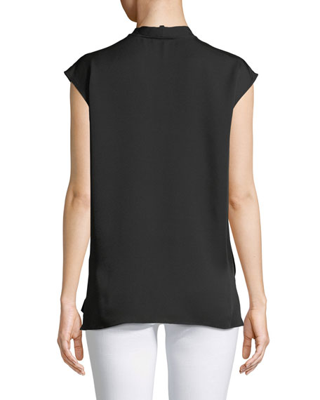 Relaxed Tie-Neck Sleeveless Silk Wrap Top