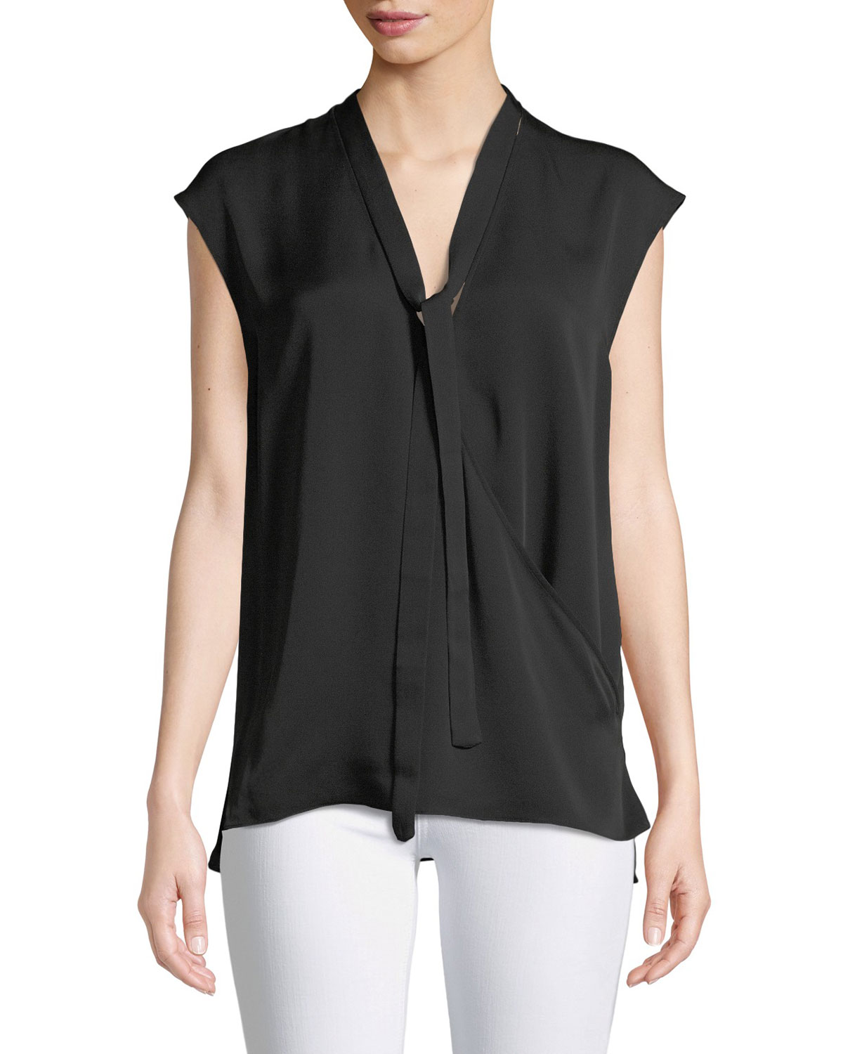 6aaa3dfbe381bb Theory Relaxed Tie-Neck Sleeveless Silk Wrap Top