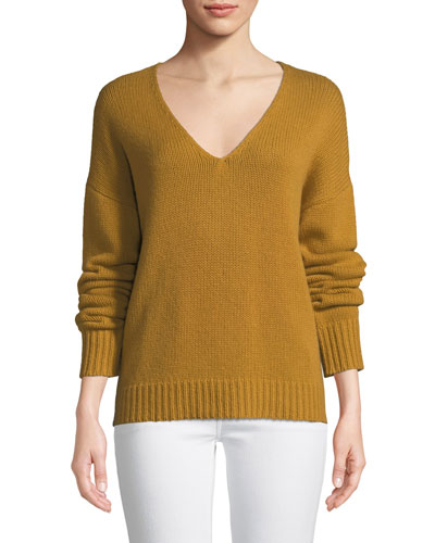 Relaxed V-Neck Cashmere Pullover Sweater