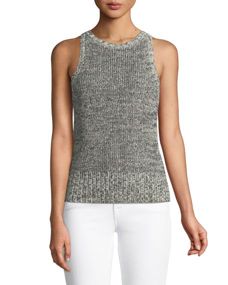 Open-Back Wool/Paper Crewneck Shell Top