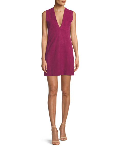Zinovin Sleeveless Double-Face Suede Shift Dress